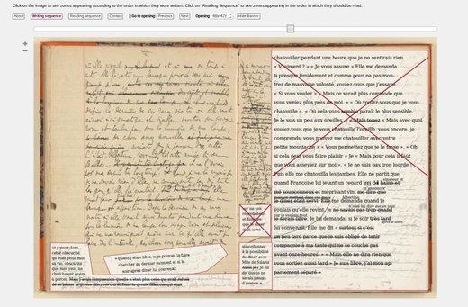 Abbildung 2: Zonen und Schreibprozess am Beispiel eines Proust-Manuskripts, aus: Autour d'une séquence et des notes du Cahier 46